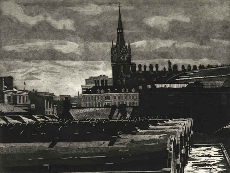 KINGS CROSS SKYLINE 2 - Etching by Colin Bailey  View from the North behind Kings Cross and St Pancras stations. The Gothic Clock tower of St Pancras station station stands silhouetted against a troubled London sky.