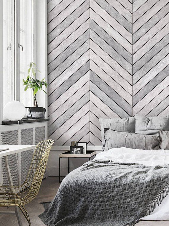 Chevron Grey White Wood Accent Wallpaper Grey White Wood Extra Large Wall Art Peel And Stick Wall Mural Wood Wallpaper Bedroom Accent Wall Bedroom Accent Wallpaper