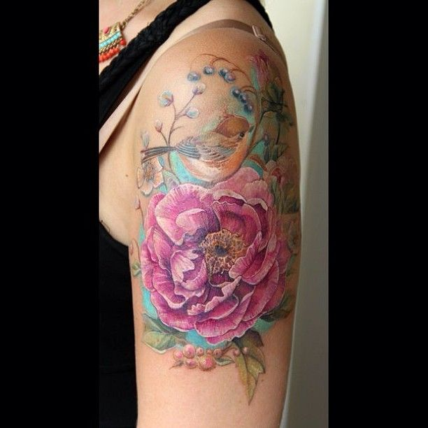Another beautiful floral bird tattoo that looks like a for Pink gun tattoo