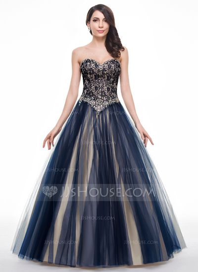 Ball-Gown Sweetheart Floor-Length Beading Sequins Lace Up Strapless Sleeveless No Dark Navy Winter Spring Fall General Plus Tulle Lace Prom Dress