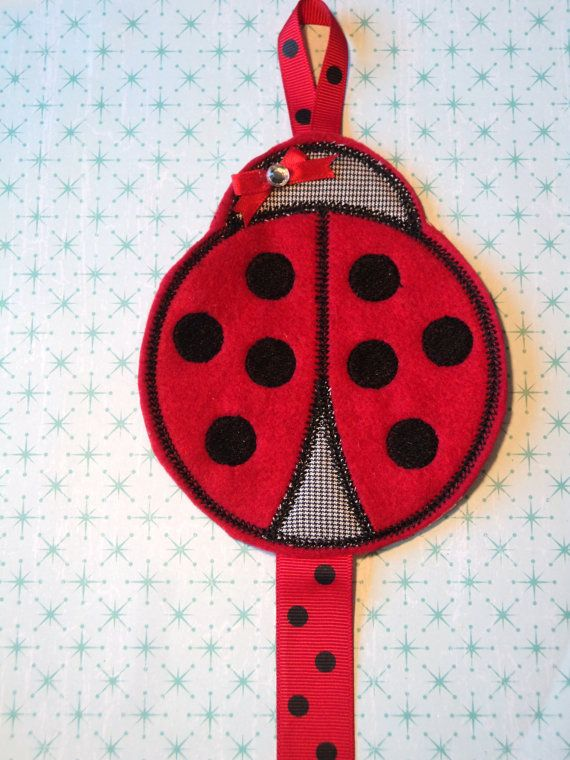 Embroidered Lady Bug Hair Bow Holder by MacAndRoniDesigns on Etsy, $8.99