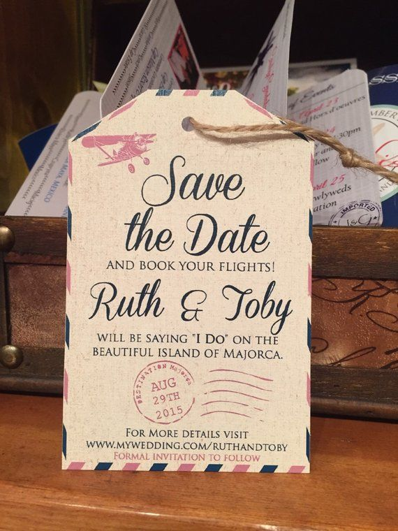 Save the date luggage tag. Destination wedding save the date. Travel save the date.