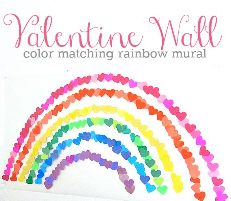 Get kids working together on this fun Valentine's Day heart mural.  #kids #ece