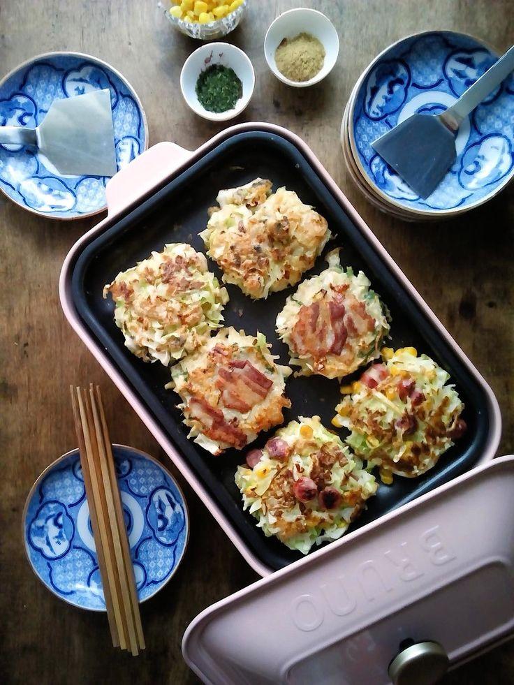 BRUNOコンパクトホットプレートで小さいお好み焼き3種 by ひな / レシピサイト「ナディア / Nadia」/プロの料理を無料で検索