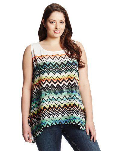 Fashion Bug Womens Plus Size Zig Zag Print Sleeveless Knit Top www.fashionbug.us  #Curvy