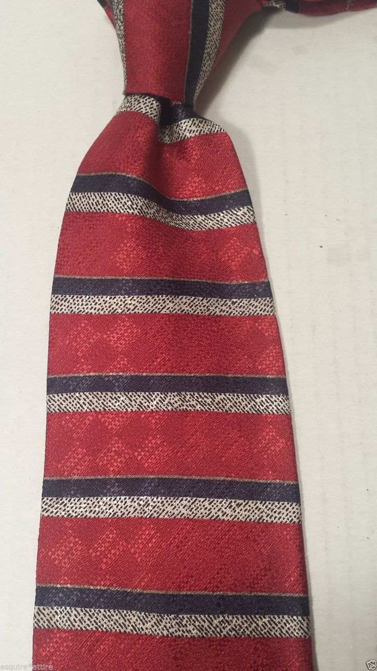 #Claiborne men neck dress silk tie red with stripes visit our ebay store at  http://stores.ebay.com/esquirestore