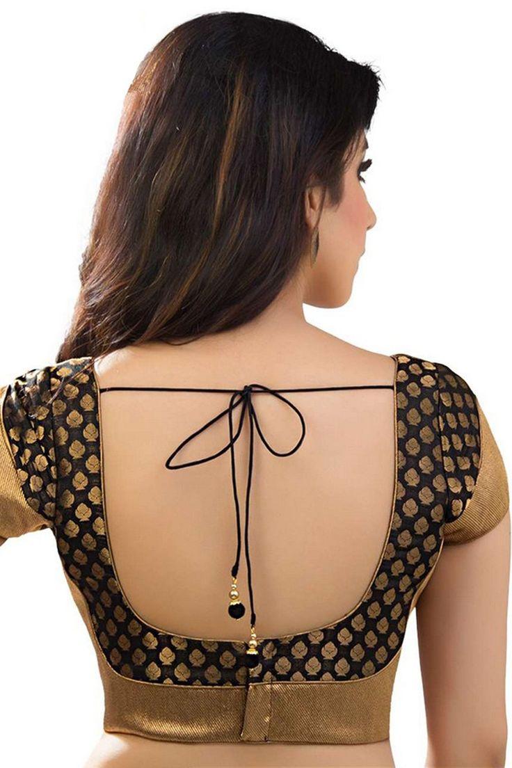 #Black & antique #gold banarasi brocade festive wear #blouse with back deep u #neck -BL737