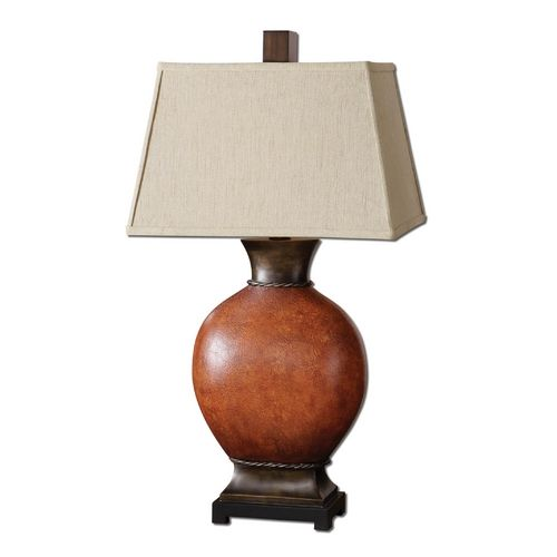 table lamp with beige cream shade in dark red finish uttermost