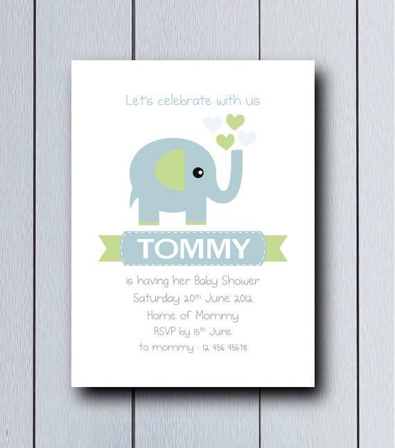 invitaci243n con dibujo de elefante ideal para nacimientos