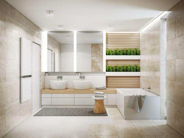 Nowoczesna łazienka w naturalnych, ciepłych tonacjach z zastosowaniem naturalnego trawertynu