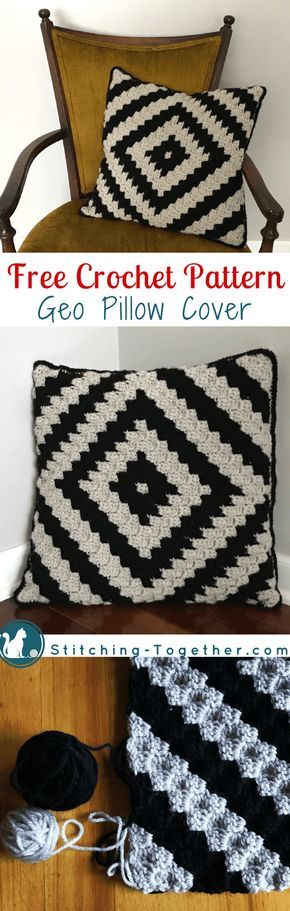 Free crochet pattern for a beautiful and trendy pillow cover. Easy corner to corner (c2c) graph included. This is a great project for a beginner at c2c since it is smaller and works up quickly.