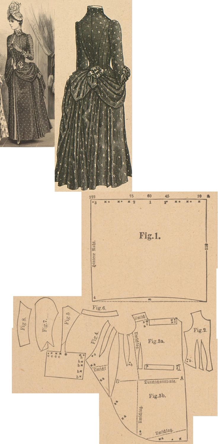 Der Bazar 1888: Dark blue printed percale dress; 1. front drapery part, 2. bodice's lining part, 3. overdress' front part, 4. side gore, 5. back part in half size, 6. collar, 7. and 8. sleeve parts