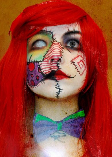 Patched. Halloween Makeup (although I think this would make a badass tattoo!)