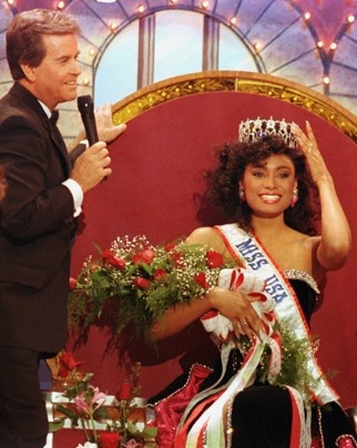 Miss USA 1990, Carole Gist, the first African American woman to win the Miss USA title