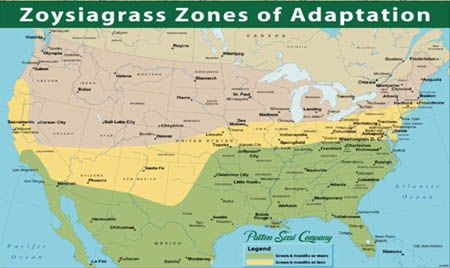 Map of Zoysia Grass Adaptation Zones