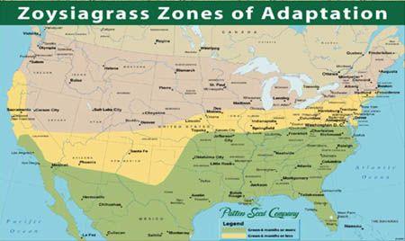Map of Zoysia Grass Adaptation Zones