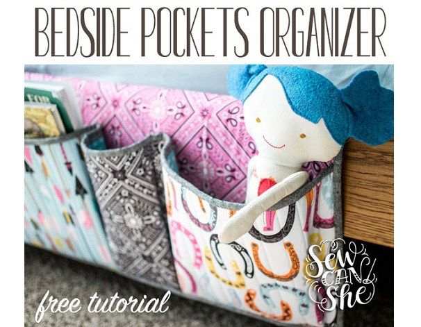 Get a handle on bedside clutter with this bedside pocket organizer!  Caroline from Sew Can She shows how you can make one.  It hangs from the side of the bed and has pockets to hold books, dolls, a…