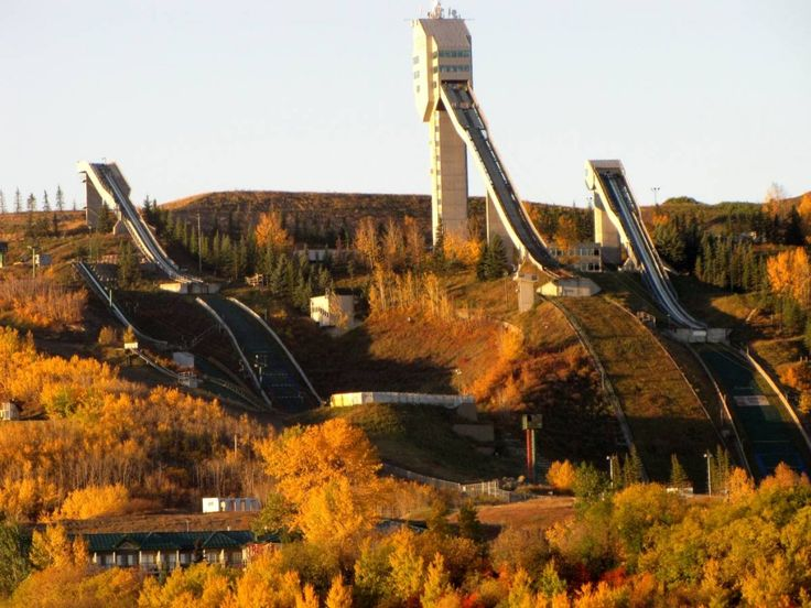 Fall color surrounding Canada Olympic Park on Paskapoo Slopes in Calgary, Alberta, Canada.