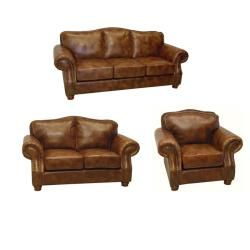 brandon distressed whiskey italian leather sofa loveseat and chair - Italian Leather Sofa