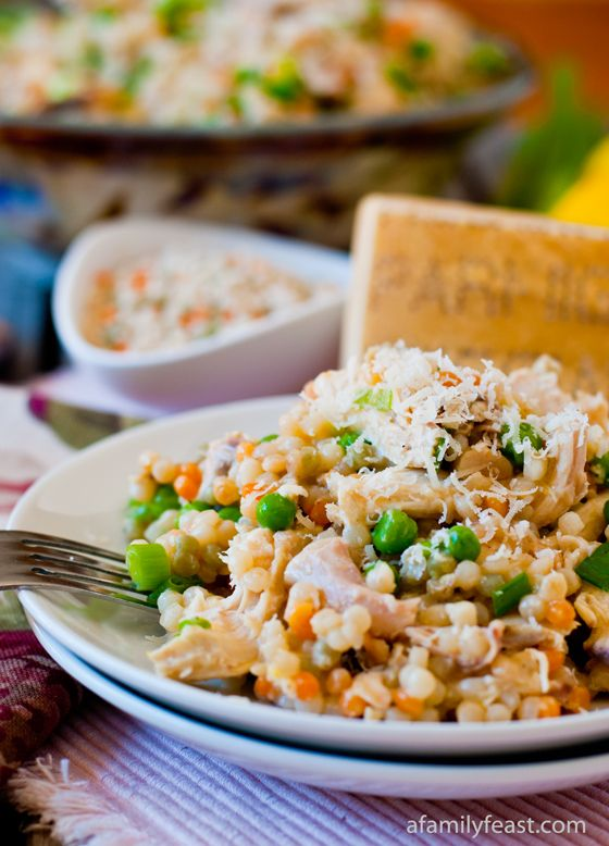 Israeli Couscous with Chicken and Peas - Don't be fooled by the simplicity of this recipe - it packs a ton of flavor!