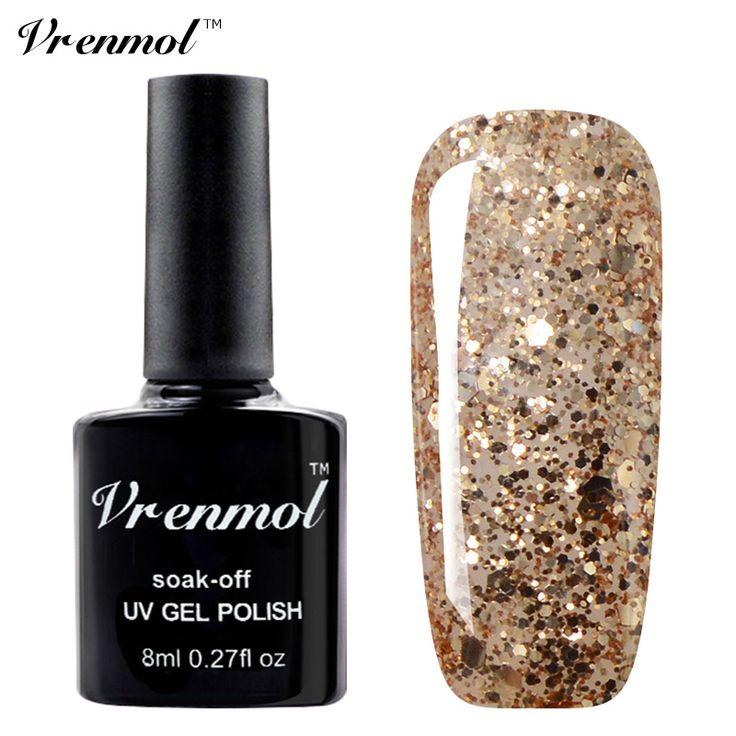 Vrenmol 1 stks Diamond Glitter Shining 20 Kleurrijke Gel Lak Top & Base Coat Losweken UV Gel Nagellak Art Manicure