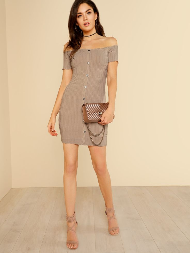 Off Shoulder Ribbed Knit Dress with Buttons SAND -SheIn(Sheinside)
