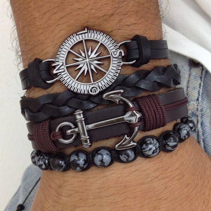 Kit 4 pulseiras masculinas couro âncora rosa dos ventos pedra obsidiana