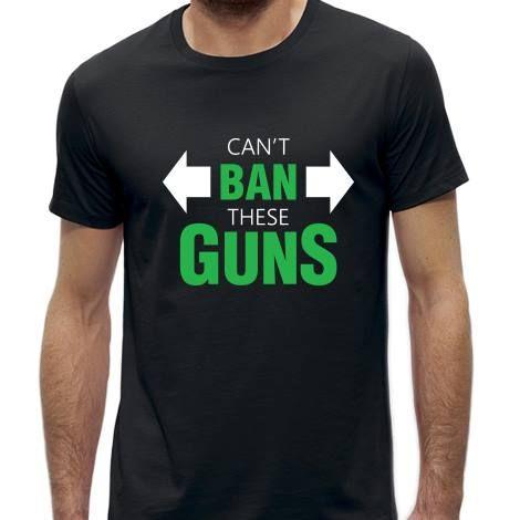 Tricou negru, medium fit cu mesajul: 'Can't ban these guns'.