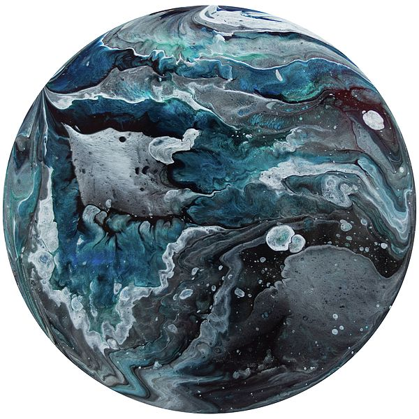 Polaris 8 - A contemporary painting created using acrylic pour techniques. Painted on plastic coated aluminium discs. Inspired by the planets and sci-fi fantasy visual themes.