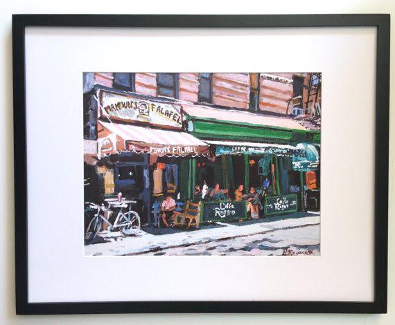 Cafe Reggio  Mamouns Falafel New York Art 16x20 by GwenMeyerson