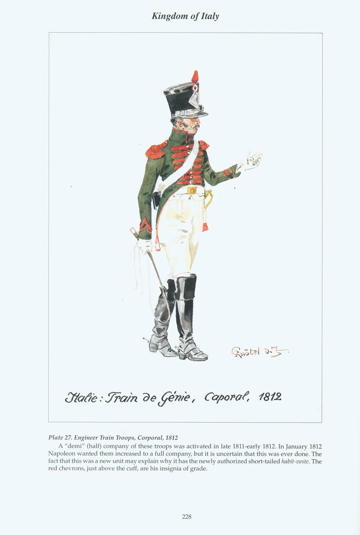 Kingdom of Italy: Plate 27: Engineer Train Troops, Corporal, 1812
