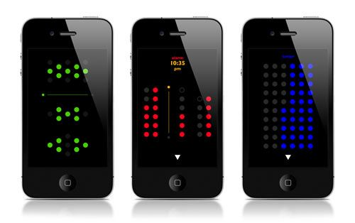 Dominus Plus is a sci-fi looking clock, alarm, and timer for your iPhone or iPod Touch that depicts time through dot patterns.