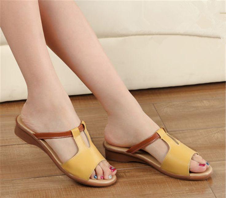 Été Nouveau Femmes Sandales Mode Chaussures Compensées dames blanches sexy Slipper en cuir,bleu,3.5