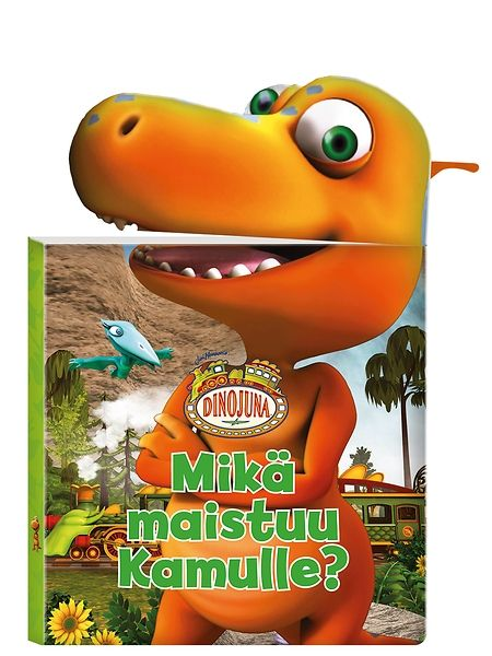 Tukevassa Dinojuna, Mikä maistuu Kamulle -kartonkikirjassa Kamu tutkailee, mitä muut dinosaurukset syövät ja etsii itselleen ja sisaruksilleen sopivaa purtavaa. Lopussa lempimurkina löytyykin! Kirjaa tutkiessa Kamun suun voi avata ja sulkea hauskasti pienestä vivusta kääntämällä.