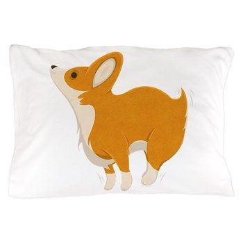 Cartoon Corgi Pillow Case from cafepress store: AG Painted Brush T-Shirts. #pillowcase #dog #corgi