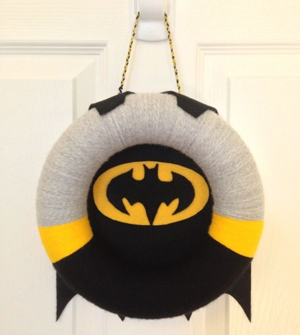 BATMAN!!!  Felt and yarn wreath by beverley