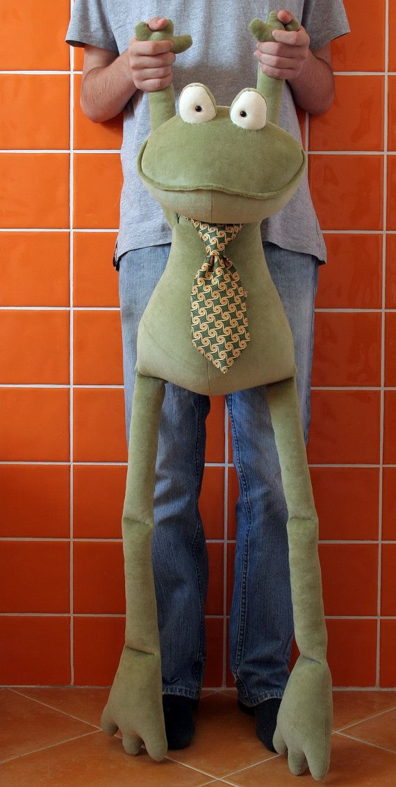 Moss Green Giant Frog stuffed plush toy by andreavida on Etsy