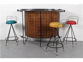 Vintage bardisk med 3 barstolar - 1950-60-tal - Retro på Tradera.com -