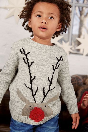 Buy Kids Next Grey Marl Xmas Pom Pom Reindeer Jumper (3mths-6yrs) online | Shop The Brand Store