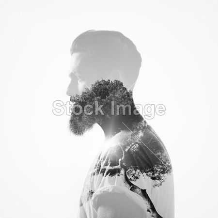 Double exposure portrait: beard and tree
