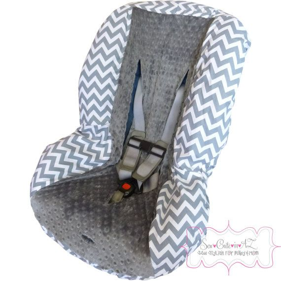 Chunky Grey Chevron with Charcoal Toddler Car Seat Cover on Etsy, $40.00
