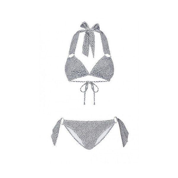 Pistol Panties Charlotte Bikini (€195) ❤ liked on Polyvore featuring swimwear, bikinis, dot, polka dot bikini, cut out bikini bottom, metallic bikini, triangle swimwear and halter bikini top