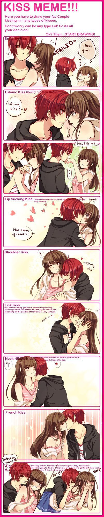 KISS MEME WITH WAIFUUUU by omocha-san on deviantART.. I want a boyfriend who will give me Eskimo kisses:(