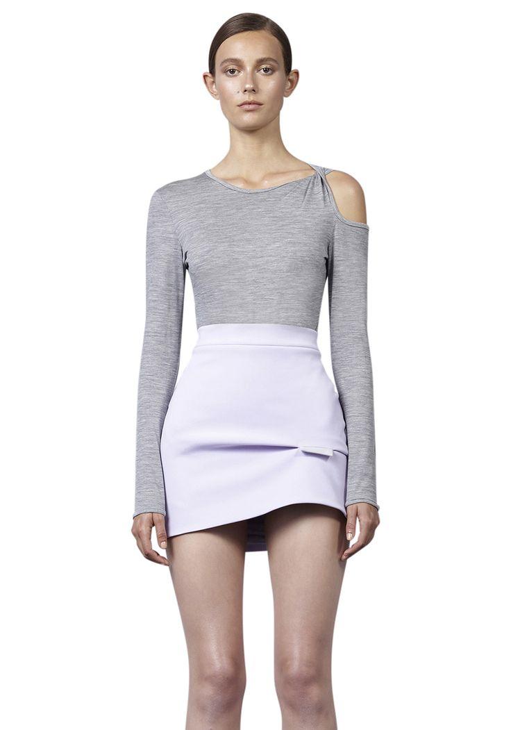 BY JOHNNY  - Merino Twist Sleeve Top - Grey