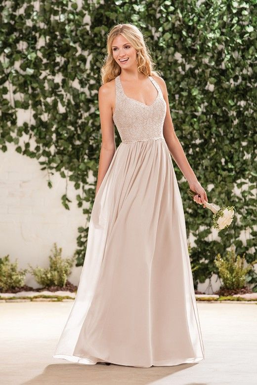 b18ae15bfd720 B183061 Long V-neck Lace & Poly Chiffon Bridesmaid Dress with Halter Straps