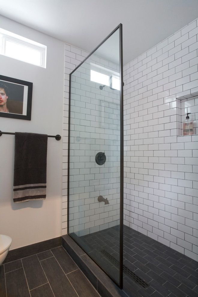 Brilliant Bathroom White Subway Tile With Dark Floor Delightful