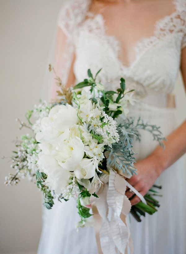 gorgeous bouquet with pleated ribbon   Jose Villa