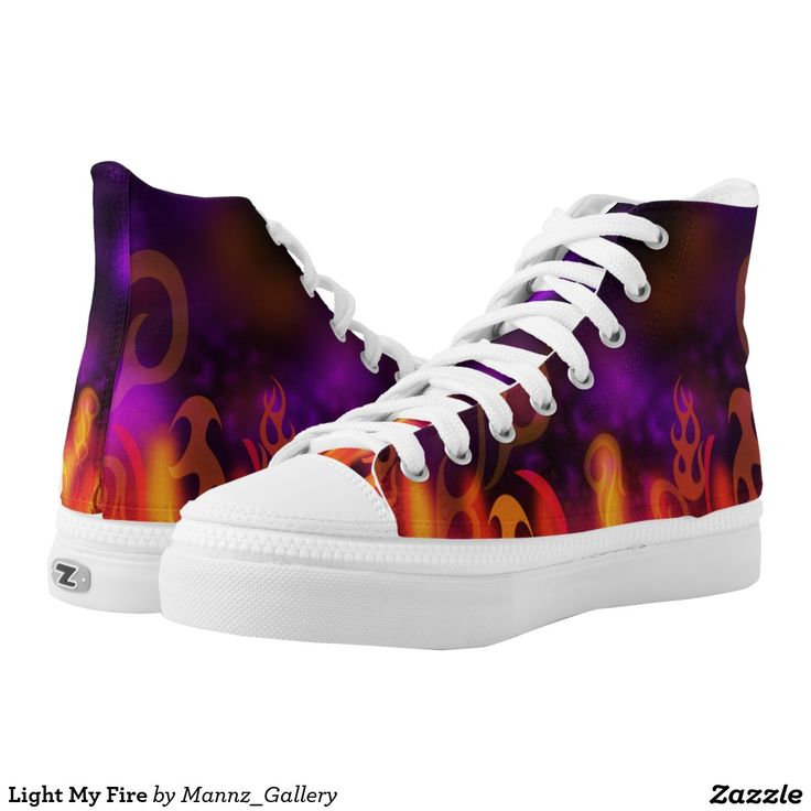 #fire #FireSneakers #FireShoes Light My Fire Printed Shoes.  Unisex sizing: 4-13 Men's | 6-15 Women's. Material: Durable canvas tops, rubber soles.  •Rubber soles are manufactured with extra cushioned insoles and a specially designed arch support system to give your feet a