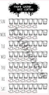 Bullet Journal free weekly template:  8 glasses of water (1 with lemon) more…