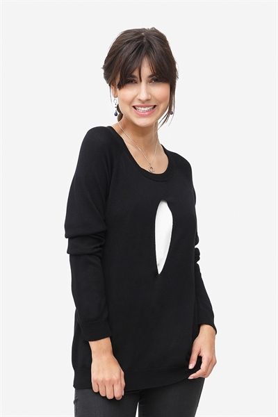 Nursing blouse with width and discreet nurse opening in black/cream